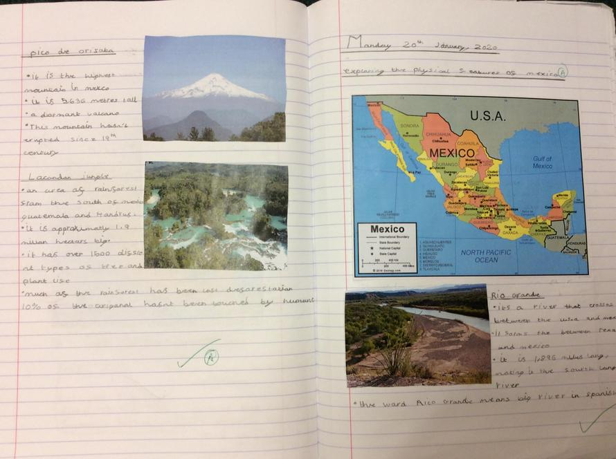 Gracie's factfile on Mexico's physical features