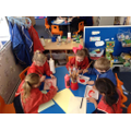 We painted pictures for Mrs Pig.