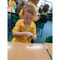 Sam making his cross!