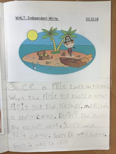 We've been writing all about pirates in English.