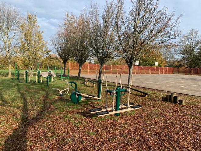 The new outside gym equipment