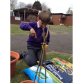 We used different gardening tools to help us plant our seeds.