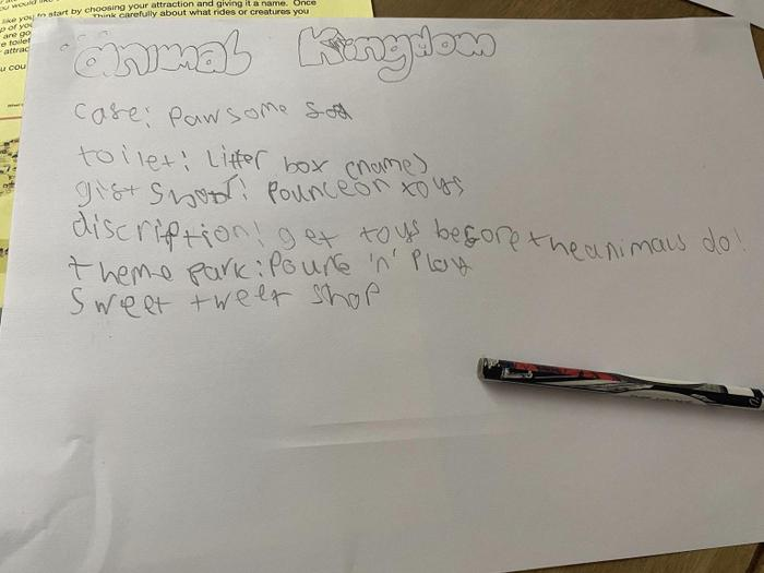 Fantastic planning ideas for Kaiden's attraction.