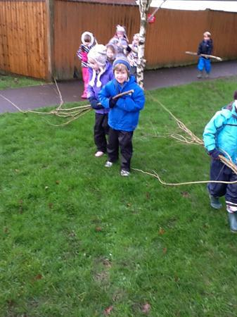 Carrying sticks to make dens.