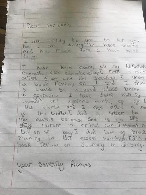 A letter from Frances