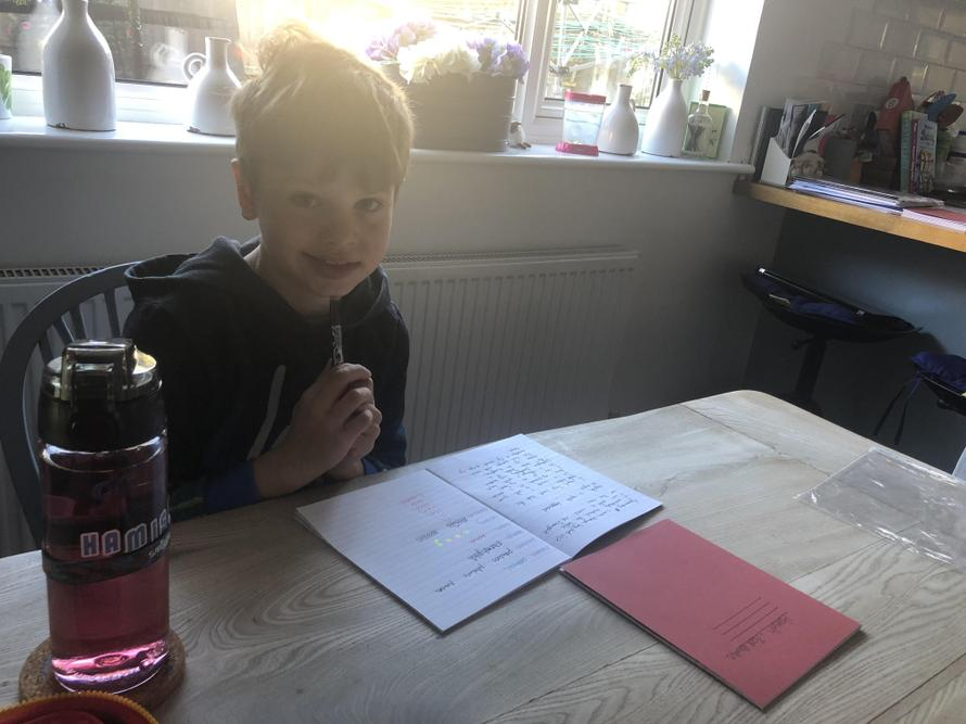 Hamish - doing his home learning