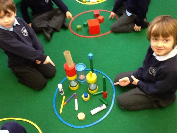 We worked together to sort 3D shapes.