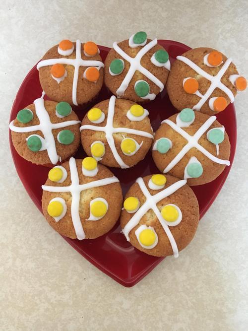 Toby's Hot Cross Cupcakes