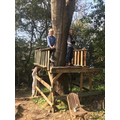 Rafe & Minnie building their recycled tree house.