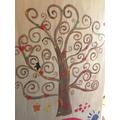 Alice's Gustav Klimt inspired tree painting