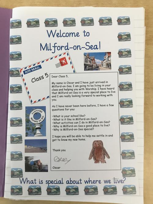 Oscar Owl makes a visit to school to find out about Milford-On-Sea!