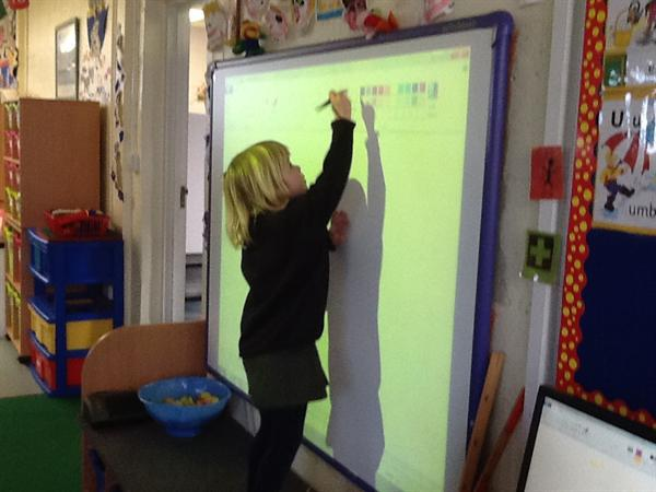 I can use an interactive whiteboard pen.