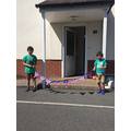 Magnus and Isaac created VE Day bunting