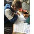 Hamish, hard at work learning about Shackleton.