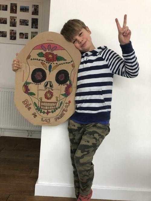 Hamish & his Day of the Dead mask.
