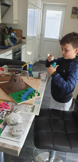 Charlie, busy making his Mount Tiede volcano