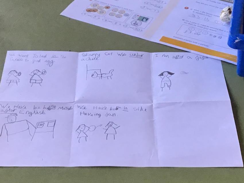 Scarlet did some wonderful prepositions work.