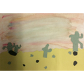 We created a backwash using watercolours..
