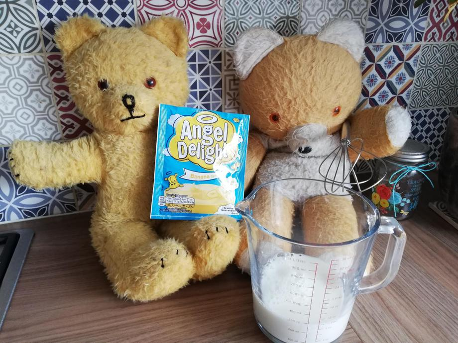 Big Ted said you have to whisk the banana flavoured powder into the milk.