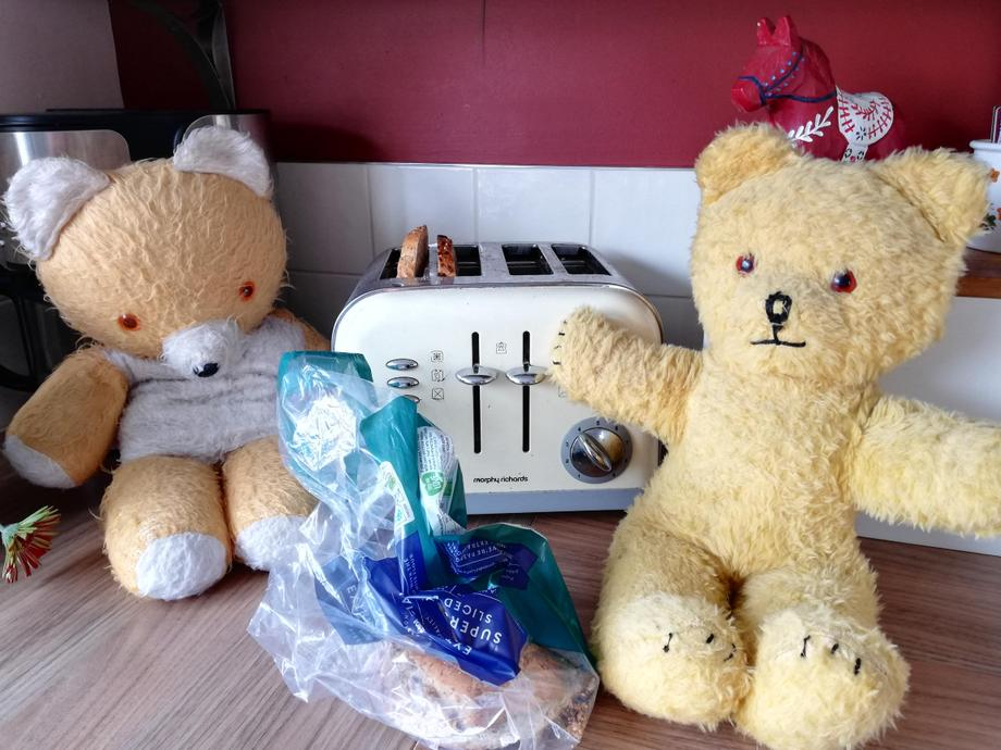 Big Ted and Little Ted have decided to make some toast for their breakfast.