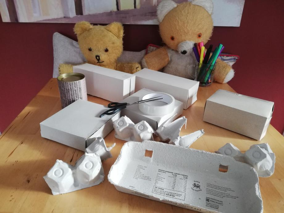 The Teddies used sellotape to hold the turned boxes in place.
