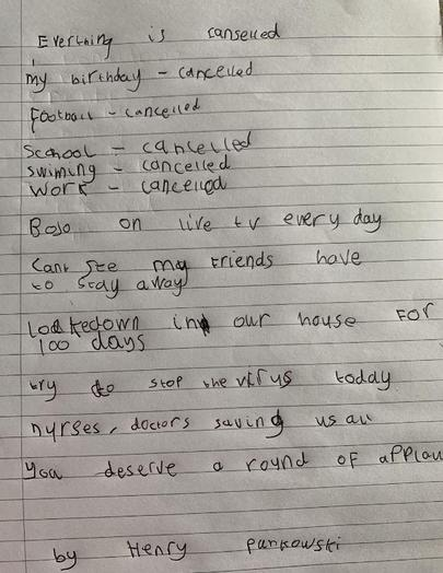 Y2 Henry for lovely COVID-19 poem