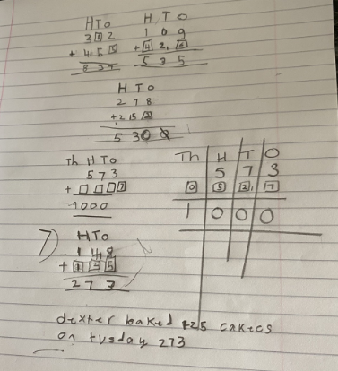 Y3- Blake for trying hard with column addition