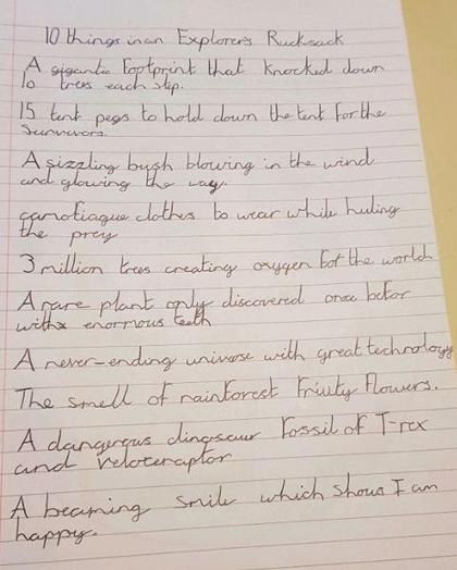 Y3 Harry for a super poem about explorers rucksack
