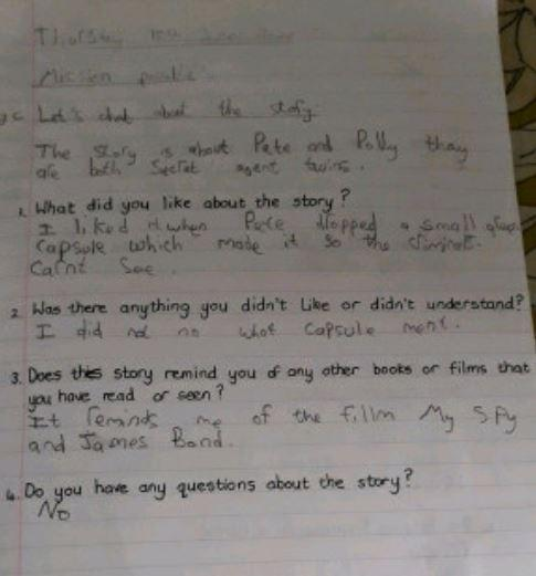 Y4 Cameron for brilliant answers in English