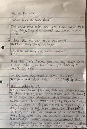 Y4 - Riley for good effort in tricky English