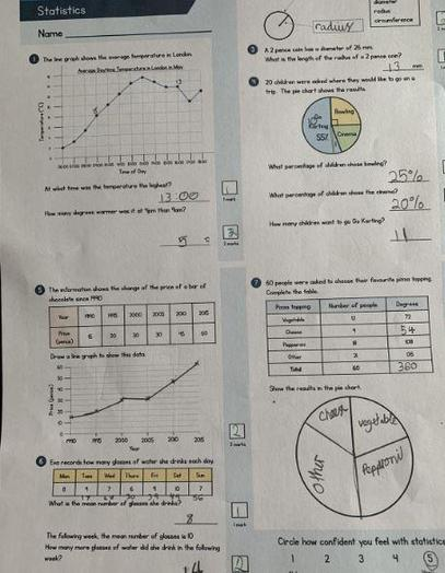 Y6 - Daisy for excellent pie chart maths work
