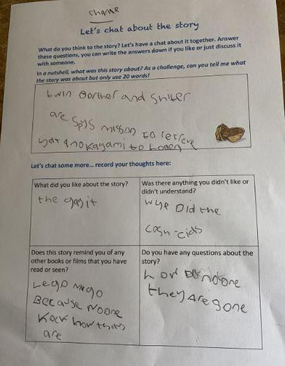 Y4 - Charlie M for good writing in English