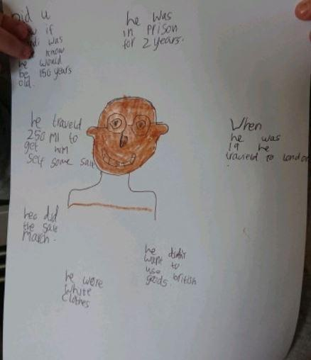 Y2 Atticus for a super fact file about Ghandi