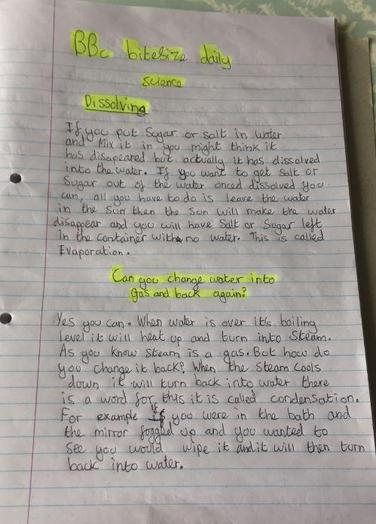 Y5 Lexi for write up of science dissolving work
