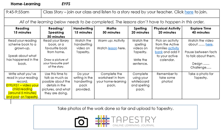 Daily remote learning timetable EYFS