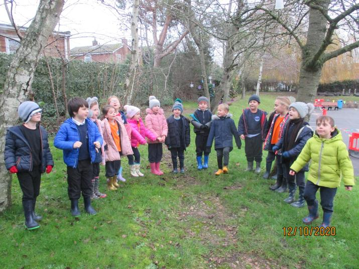 Olive class enjoyed venturing outside today to safely sing some Christmas songs!