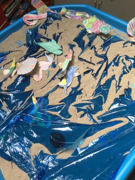 Sand shells and sea.