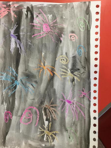 We drew fireworks with wax crayons