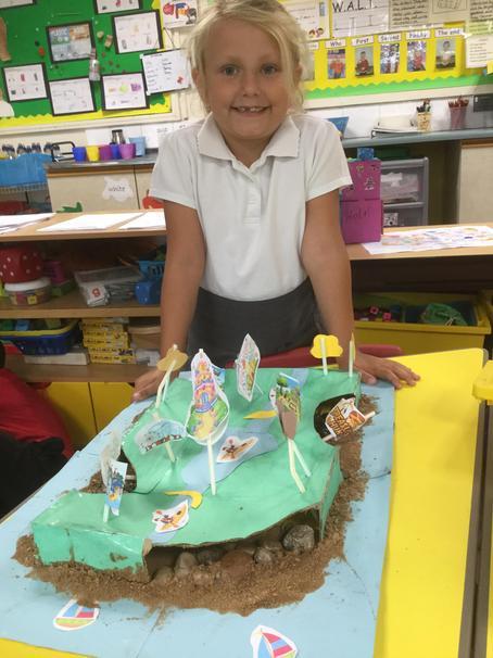 Evie's island has a treasure hunt underneath it!