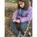 Carving a mushroom from Hazel