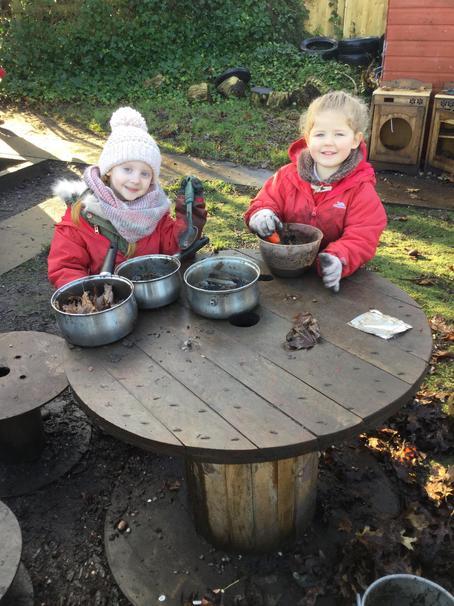 Mud pies in the mud kitchen