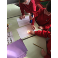 learning about light and looking at shadows