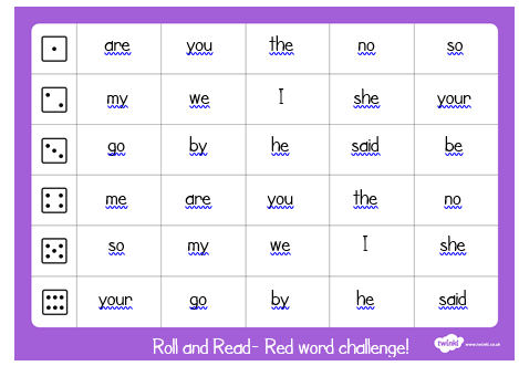Reception Red words roll and read