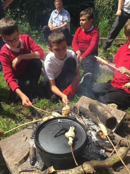 Bread making in school wild area
