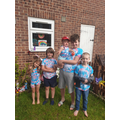 Dominic and family in their tie dye t shirts.