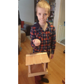 Dominic's finished bird feeder.