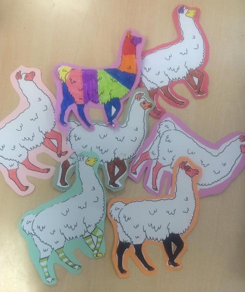 First of all we coloured in our Llamas.