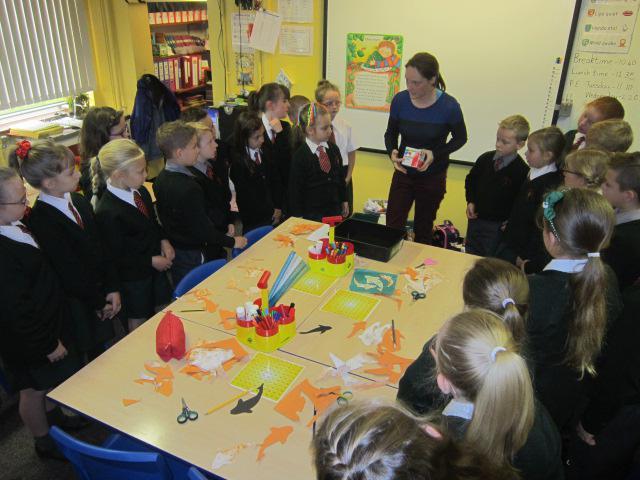 Debbie showed us how to marbel paper.