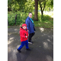 Callum walking back to school from forest school