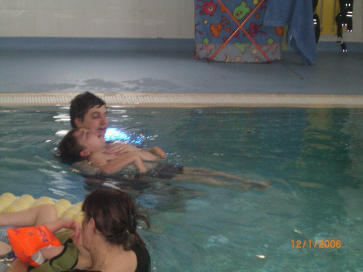 William enjoying a swim in the hydrotherapy pool